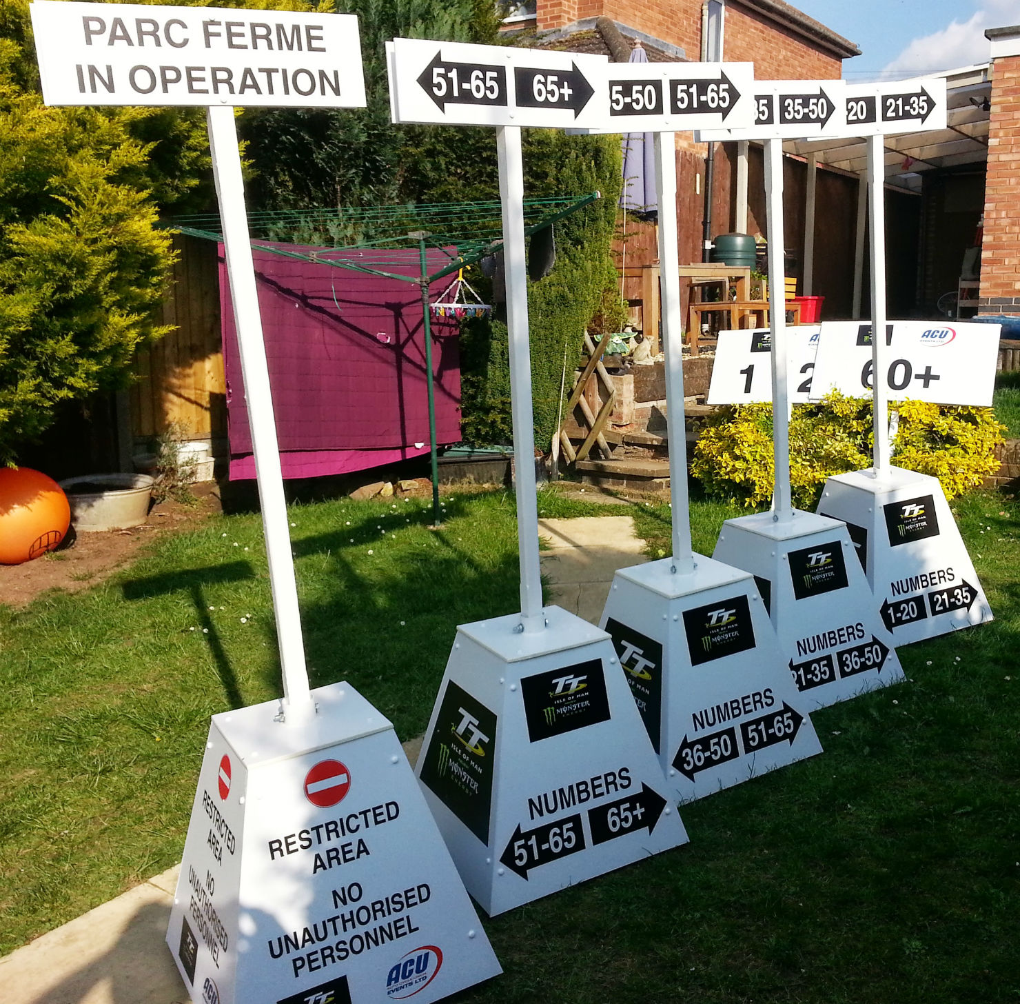 Starting grid signs for Isle of Man TT